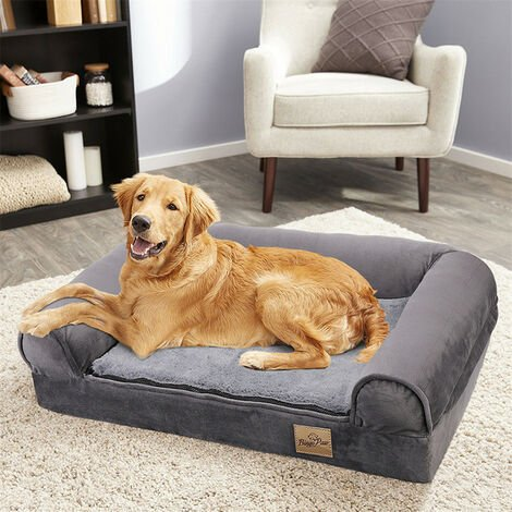 Traditional Large Dog Bed Pet Cuddler Couch Lounger Removable Cover - Grey - Size L