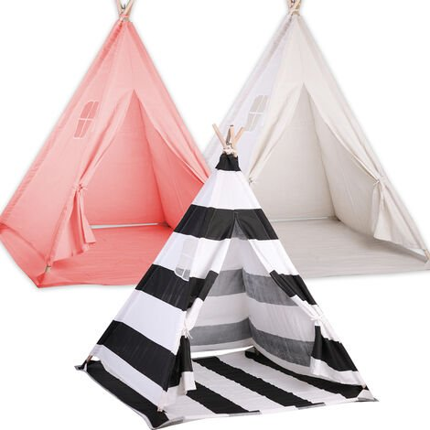 kids Girl Teepee Play Tents Children Gaming Play House Sleeping Dome With Floor Mat - Black