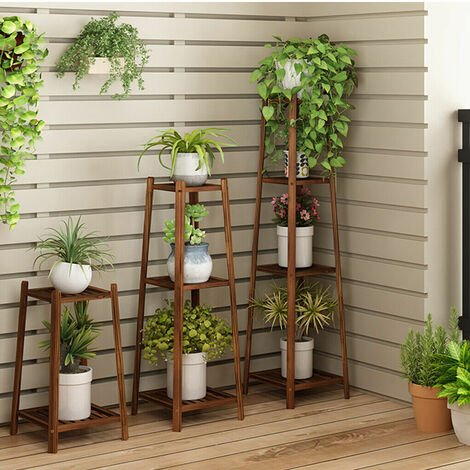Bamboo Tall Plant Stand Pot Holder Garden Flower Rack Display Vintage,2 Tiers 76cm