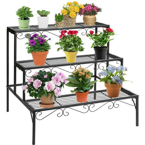 3 Tier Stairs Style Large Metal Flower Rack Plant Shelf for Garden Balcony Patio