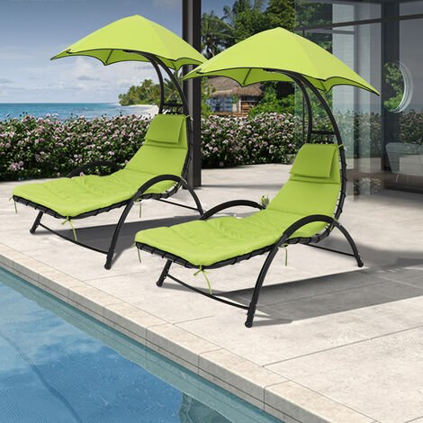 Outdoor Chaise Lounge Chair with Umbrella and Cushion Beach Yard Pool Sunbed Cot