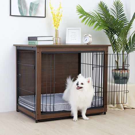 Dog Crate Dual Doors Puppy Rabbit Cage Shelter Wooden Kennel Indoor End Table,Small