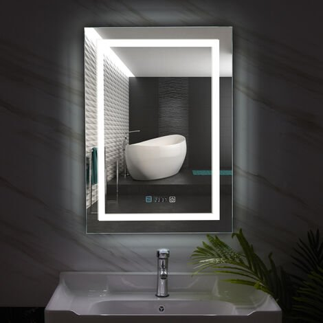 Large LED Backlit Bathroom Anti-Fog Mirror Rectangle Light with Date Tempertuare Display, 500 x 700mm Vertical