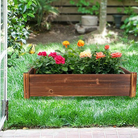 Raised Wooden Vegetable Bed Planter Trough Garden Planter Flower Bed Plant Pot