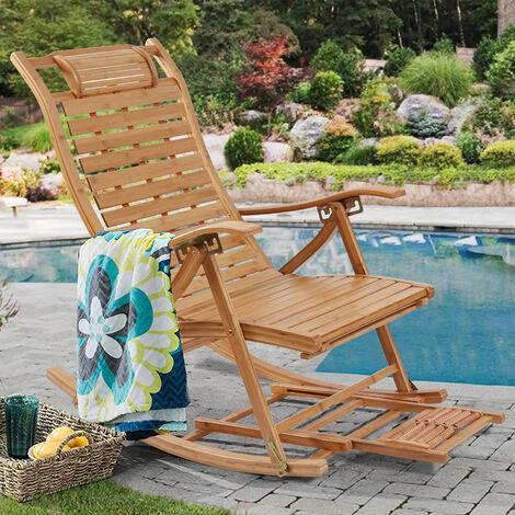 Bamboo Outdoor Garden Deck Rocking Chair Armchair Relaxing Recliner Lounger Seat
