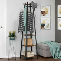 1.8m Metal Hat Coat Stand Hall Garment Storage Rack Retro Wooden Storage Shelves