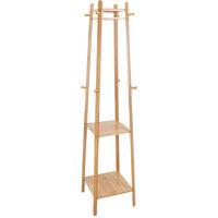 Modern Style Wooden Coat Stand Tall Floor Standing Rack Clothes Hanger 8 Hook