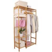 Garment Hanging Stand Rack Hat Clothes Rail Wooden Shoe Storage Shelf w/ Curtain