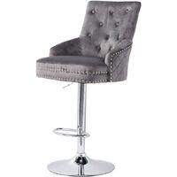 Crushed Velvet Upholstered Breakfast Bar Stool Chrome Lion Knocker &Button - Grey