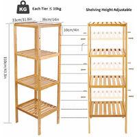 Tall 4 Tier Bamboo Wood Storage Rack/Shelving Bathroom Shelf Kitchen/Office Unit