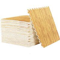 24pcs EVA Foam Interlocking Wood Grain Floor Mats Home Workout Kids Soft Play Gym Rugs,Light Wood