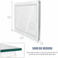 LED Illuminated Bathroom Mirror Light Demister / Switch / Backlit / 3x Magnifier