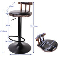 2x Rustic Industrial Vintage Retro Breakfast Bar Stool Kitchen Counter Chairs - Black