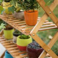 Folding Shoe Rack Bamboo Wooden Shelf Stand Storage Organizer Plant Pots Display - Small 68x25x69cm