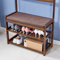 Hall Tree Hat and Coat Stand Entryway Hallway Shoe Rack Bench with Shelves Hooks