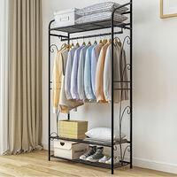 Metal Clothes Rail Storage Garment Shelf Clothing Hanging Heavy Duty Shoe Rack
