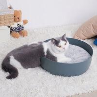Cat Kitten Cardboard Corrugated Scratcher Pad Basket Bed Mattress Big Bowl Shape, Blue