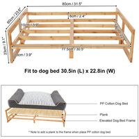 Extra Large Raised Dog Bed Basket Waterproof Pet Sofa Cushion Wooden Frame Stand, Size 80 x 60 x 23cm