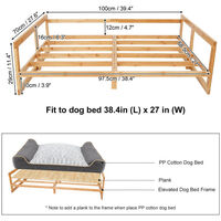 Extra Large Raised Dog Bed Basket Waterproof Pet Sofa Cushion Wooden Frame Stand, Size 100 x 70 x 29cm