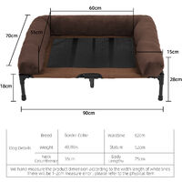 Large Orthopaedic Elevated Pet Dog Bed Raised Bolster Sofa with Fleece Cushion, L