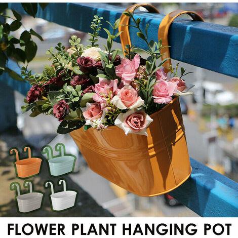 Plante suspendue en fer balcon Pot de fleur balustrade cl?ture jardin extérieur décor à la maison (orange)