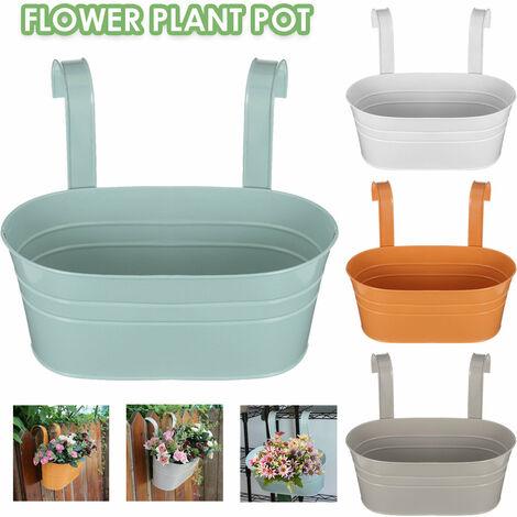 Plante suspendue en fer balcon Pot de fleur balustrade cl?ture jardin extérieur décor à la maison (blanc)