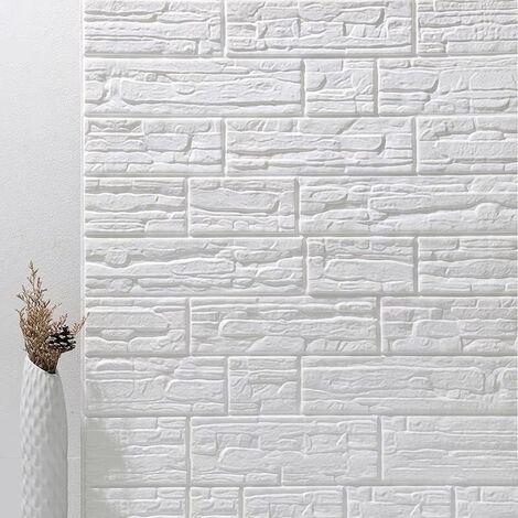 3D brique autocollant mural auto-adhésif 10mm 70*77cm tuile imperméable Blanc
