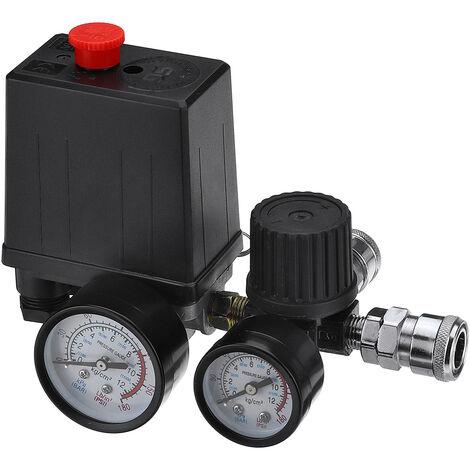 Jauges de régulateur de soupape de commande de pressostat de compresseur d'air 220 V 0-180 psi avec connecteur rapide (220 V)