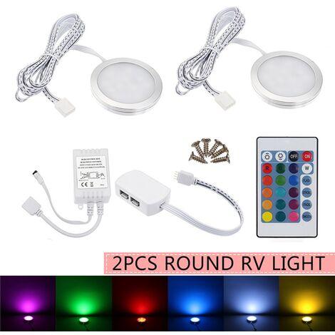 2 pièces sans fil RGB LED plafonnier pour voiture d?me lumière intérieure sous les lampes d'armoire bateau Van 12V télécommande lampe