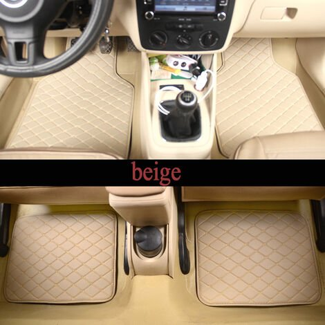 4 pièces universel voiture tapis avant et arrière imperméables tapis de sol pour BMW Volvo Benz (beige, Style 2)