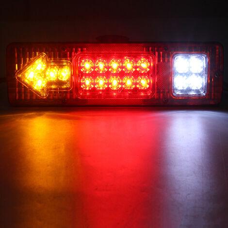 1 pièces 24 V étanche lED voiture feu arrière remorque feu arrière camion voiture caravane queue clignotant indicateur d'arrêt (blanc, 30 cm par 8.7 cm)