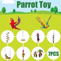 7 pièces / ensemble oiseau perroquet jouets suspendus balan?oire cage à oiseaux jouets perruche cockatiel perruche