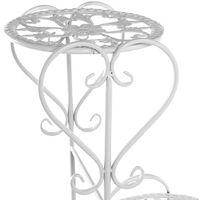 4 niveaux étagère à fleur en métal support de pot de fleur Blanc