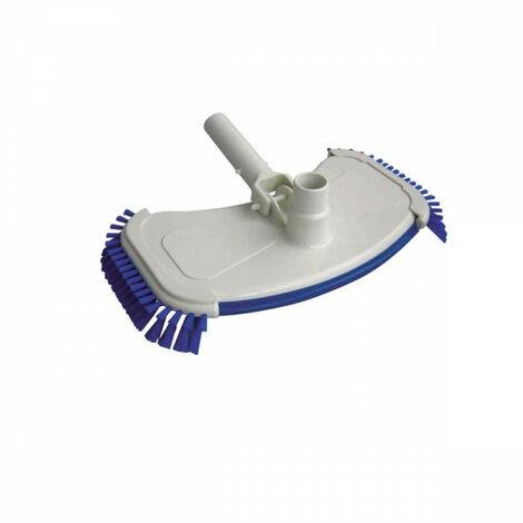 Cabezal de escoba de piscina con cepillo azul.