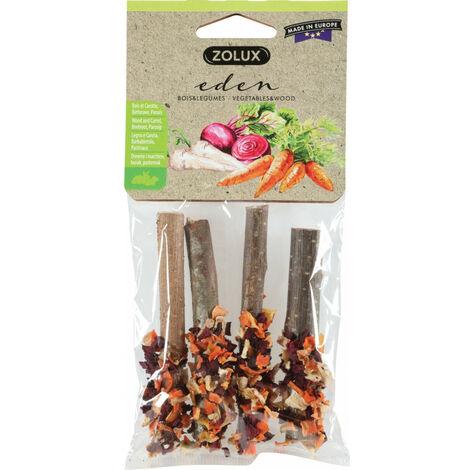 Madera de caramelo del Edén y zanahoria, remolacha, chirivía para pequeños mamíferos