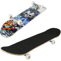 Tavola completa da skateboard silenzioso a quattro ruote in acero - Motivo a teschio - 79 * 19,5 * 9,5 cm