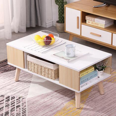 Mesa de centro / Mesas de centro modernas para sala de estar, con 3 estantes 90 x 45 x 39 cm Blanco + Amarillo