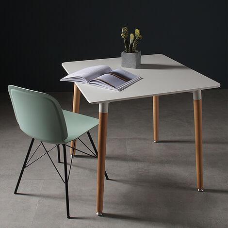 JEOBEST Mesa de comedor escandinava rectangular para 4 a 6 personas - Blanco 110 x 60 x 75 cm