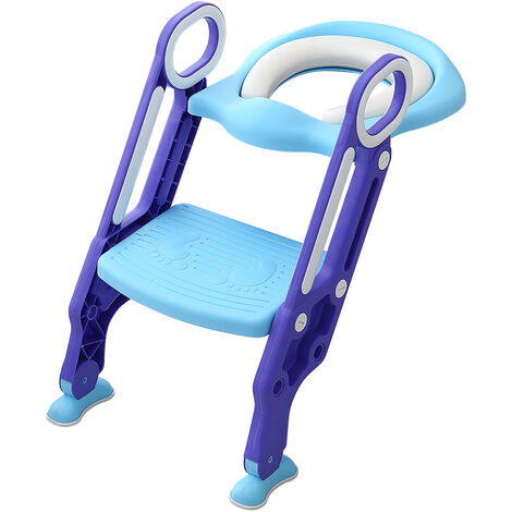 JEOBEST Reductor de asiento de inodoro con escalera plegable, asiento acolchado, escalones antideslizantes con asa, azul violeta - 1 a 7 años