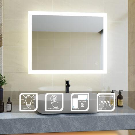SIRHONA Miroir de salle de bains 90x70 CM Anti-buée avec éclairage LED Miroir Cosmétiques Mural avec Commande par Effleurement et demister,SIRHONA