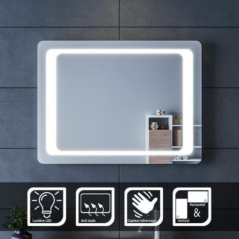 Miroir led 80x60 cm Miroir avec beau éclairage LED blanc - Capteur infrarouge - Anti-buée - Certification IP44 - SKU: FTBM1186, SIRHONA