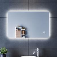 SIRHONA Miroir led Miroir LED Salle de Bains 80x50cm Anti-buée Miroirs LED Miroir Muraux AVCE avec éclairage Cosmétiques Mural Lumière Illumination