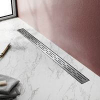 (50cm) Inox, Siphon de canal de douche avec pare-odeur et passoire à cheveux SIRHONA