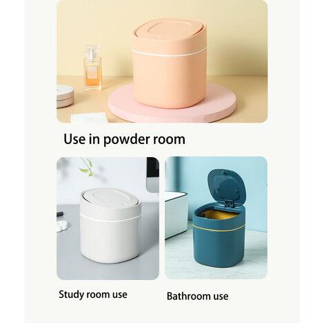Bureau creatif petit bureau mini poubelle classification plastique poubelle ronde de type poussoir mignon avec couvercle