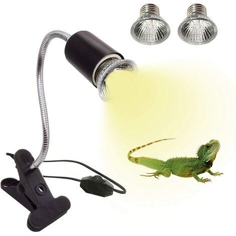 2 Ampoules UVA UVB 25W et 50W Lampe Reptiles Lampe Tortue Terrestre Chauffante avec Base Longue 360
