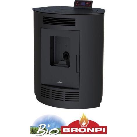 Estufa De Pellet NINA-NE 9 Kw Rincón Color Negro + Kit de tubería salida de humos y portes gratis