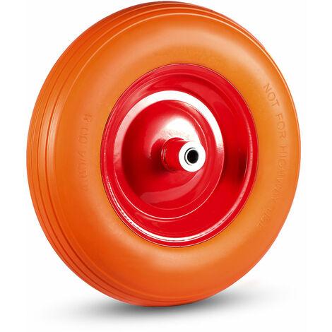 MAXCRAFT Roue de Brouette PU avec Axe - Orange/Rouge