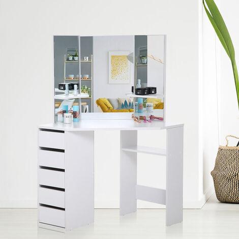 Makika Table de Maquillage / Coiffeuse ELLE de coin avec Miroir