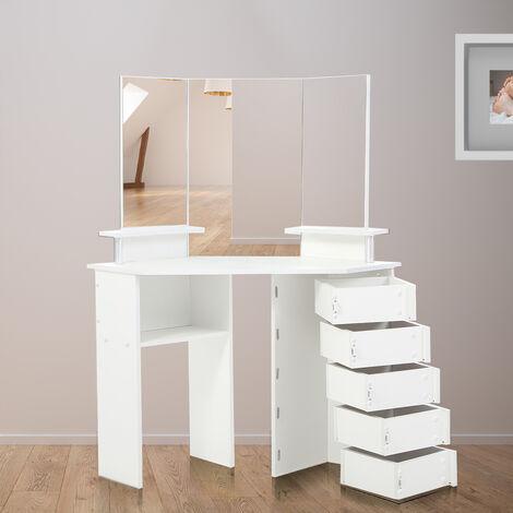 Makika Table de Maquillage / Coiffeuse de coin TYRA avec ajustable Tiroirs