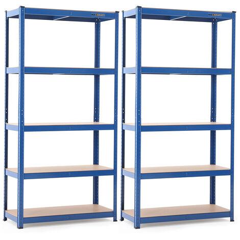 MAXCRAFT 2x Etagère Charge Lourde jusqu'à 875 kg - Bleu